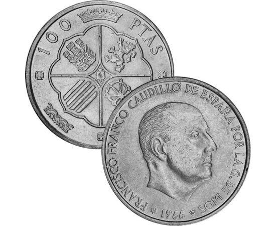 // 50 centimo, 1, 100 peseta, Spanyolország, 1966 // - A spanyol tábornok, és diktátor, bár királlyá nem koronáztatta magát, királyokat megillető rangot és udvartartást teremtett magának. Az érme uralkodásának második szakaszát, a hidegháború korszakát ké