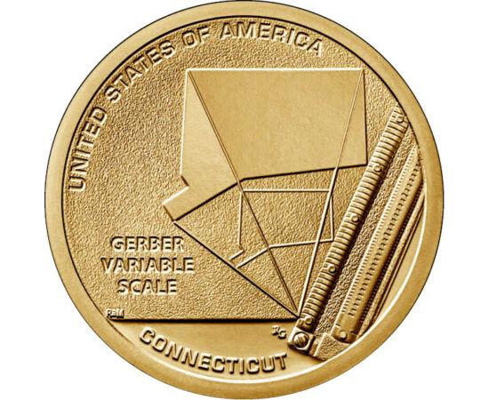 // 1 dollár, USA, 2020 // - Gerber változó skála a mérnökök és építészek körében leggyakrabban használt eszköz volt az 1950-es évektől kezdve. Az emberiség úttörő találmányait felvonultató érmesorozat Connecticut érméje Joseph Gerber és forradalmi találmá