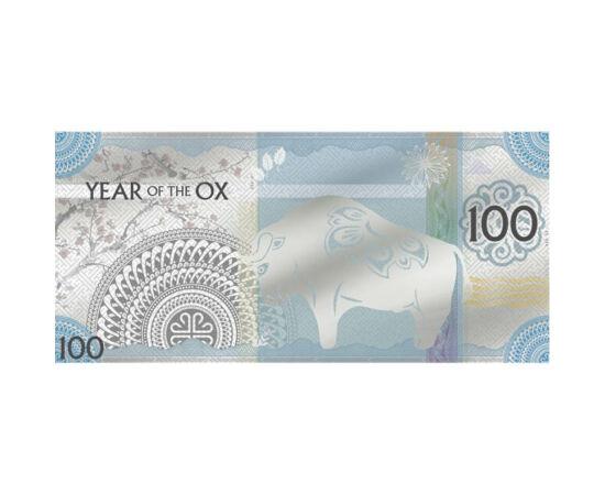 // 100 tugrik, 999-es ezüst, Mongólia, 2021 // - Mongólia különleges ezüst bankjeggyel köszönti a bivaly évét.