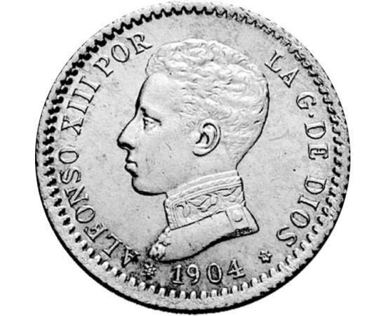 50 centimo, XIII. Alfonz, Ag,1904 Spanyolország
