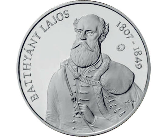 // 5000 forint, 925-ös ezüst, Magyar Köztársaság, 2007 // - 1807-ben született gróf Batthyány Lajos, az ország első független miniszterelnöke. Születésének 200. évfordulóján, a Batthyány emlékévben jelent meg ez az ezüst emlékpénz. Abban az évben ez az ér