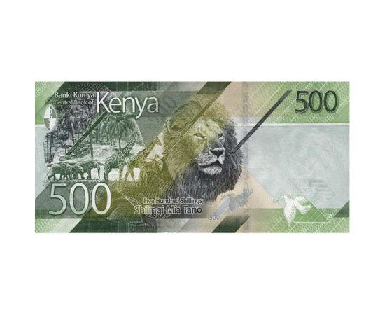 // 500 shilling, Kenya, 2019 // - Kenya Afrika nemzeti parkja, a kontinens vezető állatvédője. Az országban 12 nemzeti park és 3 rezervátum található. Nem véletlen, hogy 500 shillinges bankjegyén is az afrikai nagyvadak kerültek ábrázolásra. A zsiráf, az