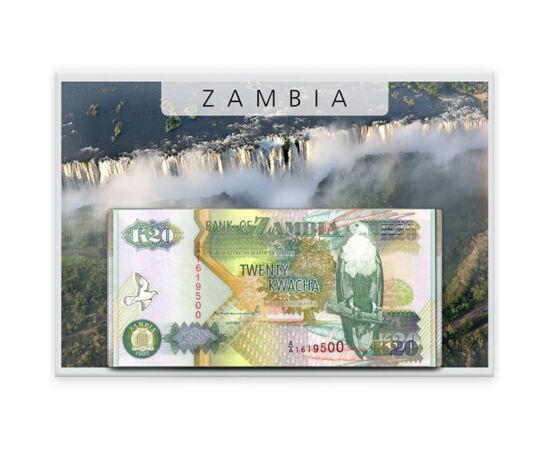 // 1, 2, 5, 10, 20, 50 kwacha, Zambia, 1980-1988 // - Zambia neve a Zambézi folyótól származik. Függetlenné válása után négy évvel vezette be máig érvényes pénzét, a kwacha-t 1968-ban. A kwacha szó jelentése; hajnal, pirkadat. Az összes bankjegyen jól fel