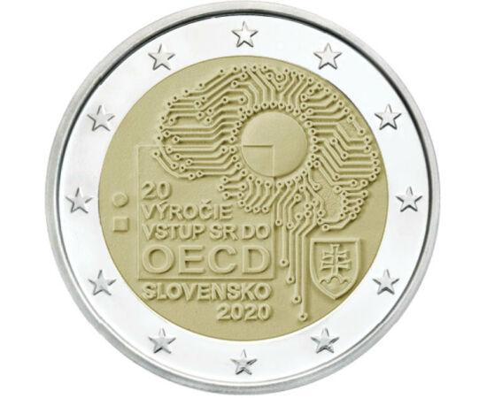 // 2 euró, Szlovákia, 2020 // - A Gazdasági Együttműködési és Fejlesztési Szervezet, az OECD 1961-ben alakult. Célja, hogy segítse a tagállamokat a lehető legjobb gazdasági és szociálpolitika kialakításában. Szlovákia 20 éve tagja a szervezetnek, mely évf