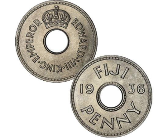 // 1 penny, Fidzsi-szigetek, 1936 // - Fidzsit a szomszédok Tonga lakosai nevezték Viti-nek, azaz nagynak. Cook kapitány ezt írta át Fidgee-re, majd Fiji-re. Őslakosai emberevők voltak, lévén a szigeteken nem éltek nagytestű állatok.  Háború előtti érméje