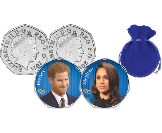 // 50 penny, Nagy-Britannia, 2012 // - 2018. május 19-én házasodik össze Meghan Markle és Henry herceg. A 2640 meghívott közül 1200-at a pár külön kérésére az ország legkülönbözőbb részeiből választanak ki. Ezen kívül brit és amerikai hírességek is feltűn