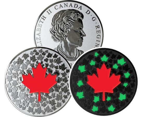 // 5 dollár, 999,9-es ezüst, Kanada, 2018 // - A kanadai pénzverő különleges érméket bocsát ki évről évre. Legújabb, sötétben világító érméjükön nemzeti szimbólumuk, a juharlevél látható. Az apró levelek közül csak némelyik világít, így kölcsönözve új arc