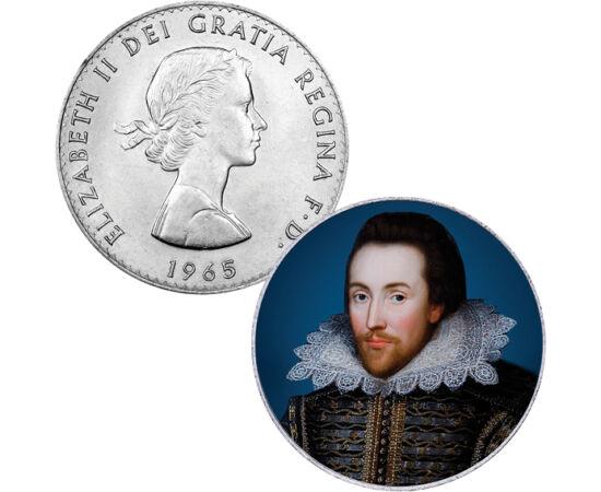 // 1 crown, Nagy-Britannia, 1965 // - William Shakespeare az angol nyelvű drámaírás legnagyobb alakja. Műveit az élő nyelvek majd mindegyikére lefordították, és színműveit folyamatosan játsszák a világ színpadain. Shakespeare mind a komédia, mind a tragéd