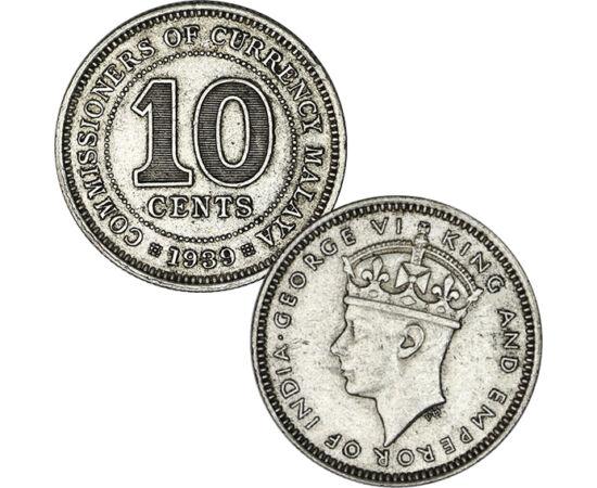 // 10 cent, 750-es ezüst, Malaya, 1939-1941 // - Malaya az egyik legjövedelmezőbb brit gyarmat volt, köszönhetően annak, hogy a világ legnagyobb óntermelője. A nagy világválság idején más országok leváltották érméikben az ezüstöt többek között ónra, így M