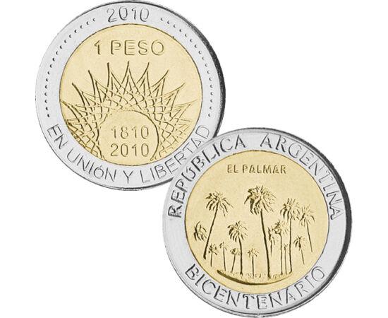// 1 peso, Argentína, 2010 // - Az alábbi bimetál érmét kibocsátó ország az elmúlt 200 évben vált függetlenné. Több országgal együtt elszántan küzdött az önállóságért és a szabadságért. Az érme a már elnyert szabadság jelképe, mivel az ország lerázta a gy