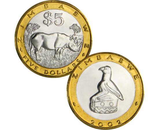 // 5 dollár, Zimbabwe, 2001-2002 // - Az alábbi bimetál érmét kibocsátó ország az elmúlt 200 évben vált függetlenné. Több országgal együtt elszántan küzdött az önállóságért és a szabadságért. Az érme a már elnyert szabadság jelképe, mivel az ország lerázt