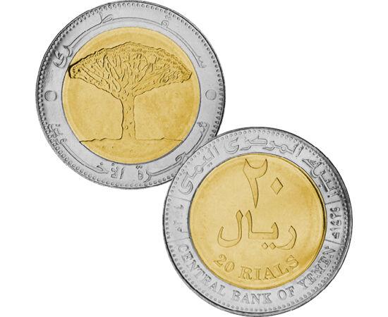 // 20 riál, Jemen, 2004 // - Az alábbi bimetál érmét kibocsátó ország az elmúlt 200 évben vált függetlenné. Több országgal együtt elszántan küzdött az önállóságért és a szabadságért. Az érme a már elnyert szabadság jelképe, mivel az ország lerázta a gyarm
