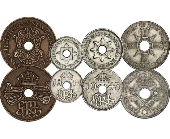 """// 1, 3, 6, penny, 1 shilling, Új-Guinea, 1938-1945 // - Új-Guinea brit gyarmat volt. Háborús forgalmi érméin VI. György portréja helyett a """"Georgius Rex Imperator"""", azaz György király és császári cím monogramja jelent meg. Minden érme lyukas volt, hogy a"""