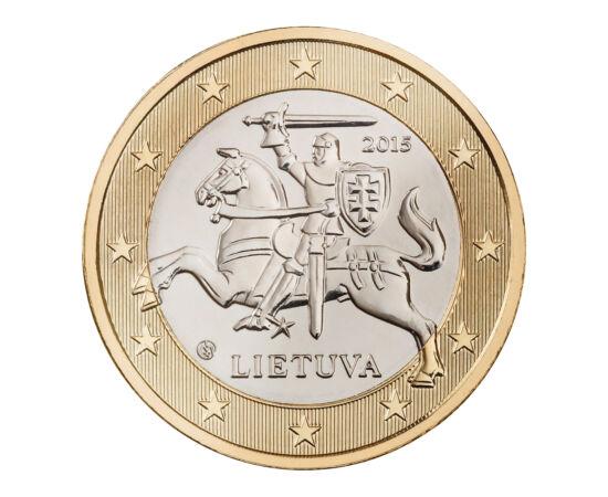 """// 1 euró, Litvánia, 2015 // - Litvánia 2015. január 1-én bevezette az eurót. Nemzeti oldalán Litvánia címeralakja, """"Vytis"""", a lovag látható. A pajzsán viselt kettős kereszt eredete, hogy Jagelló litván nagyherceg 1386-ban áttért a kereszténységre, mikor"""