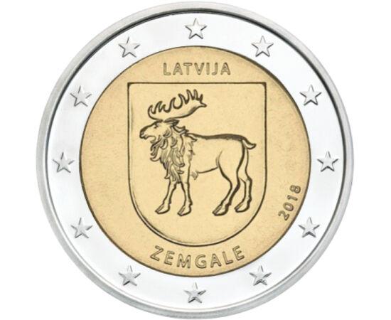 // 2 euró, Lettország, 2018 // - Zemgale, Lettország déli tartománya. Nevét az őslakos balti törzsről kapta, akik már a 2. századtól itt éltek. A középkorban hősiesen ellenálltak a Német Lovagrendhez tartozó rigai Kardtestvérek rendjének, végül behódoltak