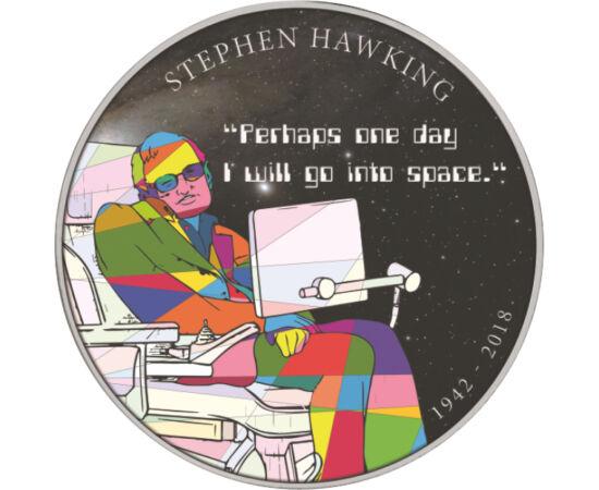// emlékérem, Nagy-Britannia, 2018 // - Stephen Hawking korunk legnagyobb elméleti fizikusa volt, aki 2018 tavaszán távozott az élők sorából egy fantasztikus, mozifilmbe illő élet után. Kiemelkedő szakmai sikerein kívül a laikusoknak szóló ismeretterjeszt