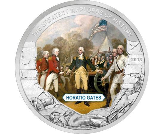 // 1 dollár, Palau, 2013 // - Horatio Gates az amerikai függetlenségi háború tábornoka. Katonai karrierje elején részt vett a hétéves háborúban, mely a XVIII. század legnagyobb fegyveres konfliktusa volt. A függetlenségi háborúban a legnagyobb érdeme az 1