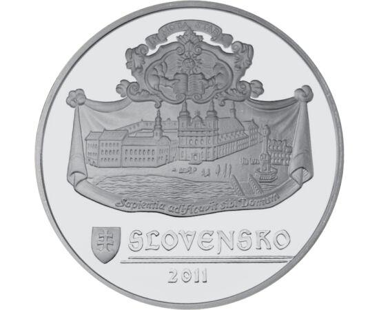 // 20 euró, 925-ös ezüst, Szlovákia, 2011 // - Ezzel a peremfelirattal bocsátották ki 2011-ben a Nagyszombatnak emléket állító emlékpénzt. Előlapján a nyolc legjelentősebb templomának tornya, hátlapján történelmi egyetemének korabeli ábrázolása látható, a