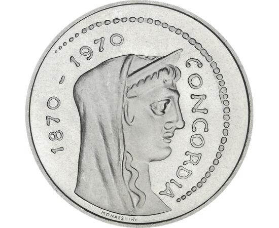// 1000 líra, 835-ös ezüst, Olaszország, 1970 // - Olaszország csak 1870-ben foglalta el Vatikán államot, és vált ténylegesen egységessé. Ennek 100. évfordulójára jelent meg ez az ezüstérme. Előlapján Concordia, az egyetértés istennőjének római pénzről át
