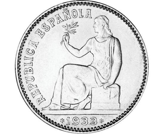 """// 1 peseta, 835-ös ezüst, Spanyolország, 1933 // - 1933-ban Franco a marokkói gyarmati erőkkel vérbe fojtotta a spanyol bányászok lázadását. Ezért """"jutalmul"""" megtették a hadsereg vezérkari főnökének. A polgárháború előtti utolsó békés, de már feszült éve"""