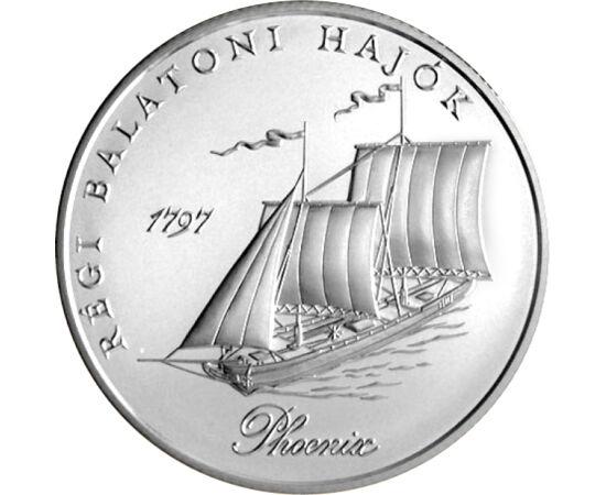 // 2000 forint, 925-ös ezüst, Magyar Köztársaság, 1998 // - Az 1998-ban megjelent ezüst emlékpénz hátoldalán a híres balatoni hajó, a Phoenix látható, előlapján pedig a balatonfüredi öböl látképe a Tihanyi apátsággal. A Phoenix, Festetics György gróf flot