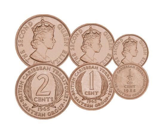 // 1/2, 1, 2 cent, Brit-karibi Terület, 1955-1965 // - A Brit Karibi Területek nem a szó szoros értelemben vett ország, állam, hanem a brit tengerentúli gyarmatok, jellemzően szigetek közös pénzkibocsátási formációja volt. Az érmék különlegessége a sorszá