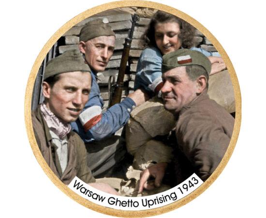 // 1 dollár, USA, 2007-2016 // - 1943. április 19-én a varsói gettó lakói fellázadtak, és majdnem egy hónapon keresztül ellen tudtak állni a náci csapatoknak. Ez volt a náci megszállás elleni első civil harc. Az előlapon a szabadság iránti reménytelen, de