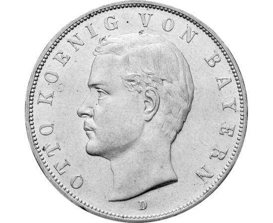 // 3 márka, 900-as ezüst, Bajor Királyság, 1908-1913 // - Ez a nagysúlyú bajor ezüstmárka a 160 éve született Bajor Ottó király emlékét őrzik. Ottón már fiatal korában eluralkodott az elmebaj, 1875-ben elmebetegnek nyilvánították.1886-ban mégis bajor kirá