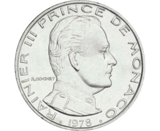 // 1 frank, Monaco, 1960-1995 // - Monaco hercegsége a világ második legkisebb, ugyanakkor legsűrűbben lakott országa. A középkor óta a Grimaldi dinasztia uralja, melynek utolsó előtti feje az érmén látható III. Rainier herceg volt. Ő tette a játékkaszinó