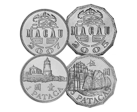 // 10, 20, 50 avo, 1, 5 pataca, Makaó, 1992-2007 // - Makaó híres az ott zajló szerencsejáték életről, emiatt úgy is szokták emlegetni, mint a kelet Monte Carloja, vagy Las Vegasa. Az érméi tükrözik a nyüzsgő életet, hagyományaikat, és építészeti csodáit.