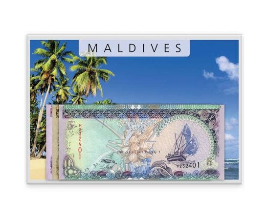 // 5, 10, 20 rufiyaa, Maldív-szigetek, 2006-2008 // - Az Indiai-óceán virága – így nevezte Marco Polo a Srí Lanka közelében fekvő egzotikus szigetvilágot. A Maldív-szigetek hivatalos pénzét a rúfiát, és váltópénzét a laarit, kizárólag csak a maldív lakoss