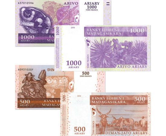 // 100, 200, 500, 1000 ariary, Madagaszkár, 2004 // - Madagaszkár a világ negyedik legnagyobb szigete. 2005 óta hivatalos pénzneme az ariary, mely a frank helyébe lépett. Mivel a lakosság legnagyobb része a textil és az élelmiszeriparból él, a bankjegyeke