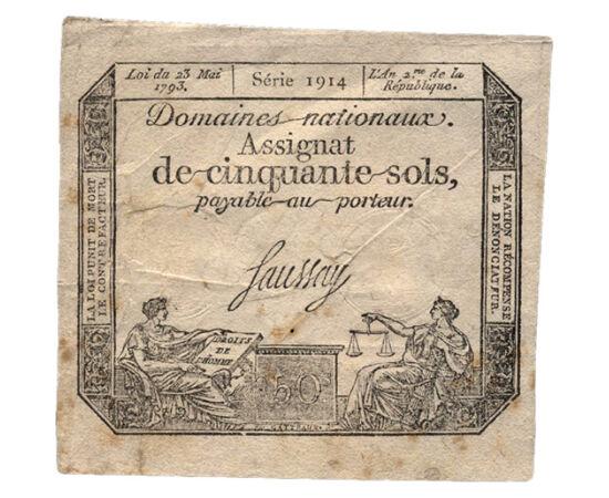 // 50 sol, Franciaország, 1793 // - Az asszignáta papírpénz a francia forradalom idejéből, neve a francia l'assignation (utalvány) szóból származik. Az asszignátákat jellemzően XVI. Lajos portréjával nyomtatták, de 1792-től a monarchia bukás után a köztár