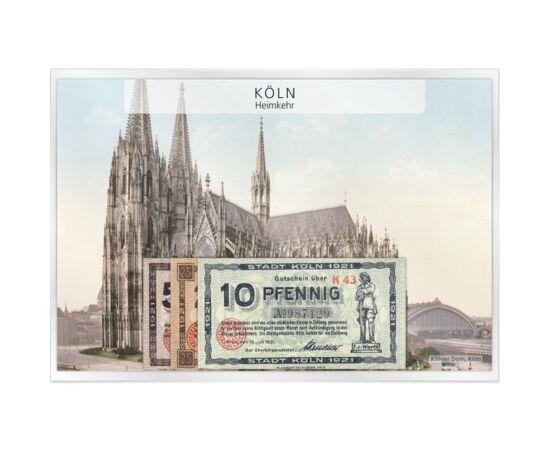 // 10, 25, 50 pfennig szükségpénz, Német Birodalom, 1921 // - Az első világháború után a fémhiány egyre nagyobb volt Németországban, így papírra kezdtek kisebb címleteket nyomni. A kereskedelem és a gazdaság működéséhez szükségesnek bizonyult a kis címle