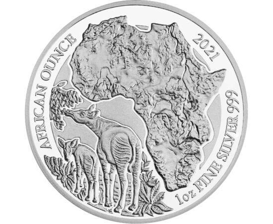 50 frank, Okapi, Ag, 1 unc.,2021 Ruanda
