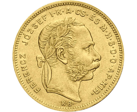 // 8 forint, 900-as arany, Osztrák-Magyar Monarchia, 1870-1890 // - Ezeket az aranypénzeket a kiegyezést követő gazdasági aranykorban verette Ferenc József, és hosszú évtizedeken át forgalomban voltak. A 8 forint ma is a boldog békeidőket, a magyarországi