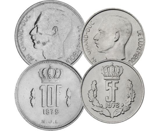 // 25 centim, 1, 5, 10 frank, Luxemburg, 1964-1984 // - János nagyherceg a hidegháború alatt volt Luxemburg uralkodója. Rendkívül népszerű volt hazájában és külföldön. Georges Pompidou francia elnök mondta róla, hogy ha Európának örökletes elnököt kellene