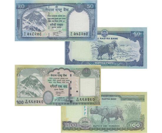 // 5, 10, 20, 50, 100 rupia, Nepál, 2012 // - Nepál, India és Kína – a világ két legnépesebb országa – között helyezkedik el a világ tetején. A nepáli rúpiát 1932-ben vezették be; az addigi ezüst fizetőeszközt, a mohárt váltotta fel. A bankjegyek hátoldal