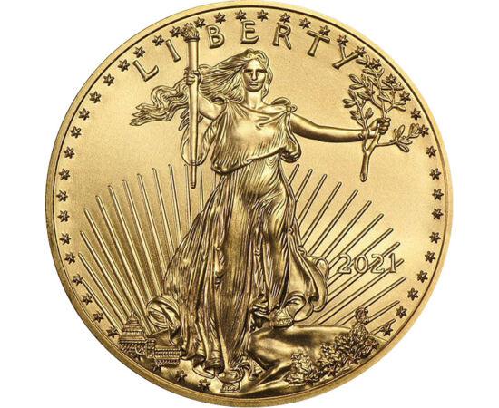 // 5 dollár, 917-es arany, USA, 2021 // - Az 1986 óta változatlan érmemotívummal megjelenő aranypénz a világ egyik legkedveltebb befektetési érméje. A fészkére leszálló sas  a vadnyugati hőskor egyik korabeli aranypénzéről lett átmentve, a hátoldalon pedi