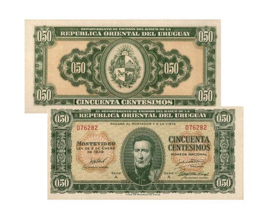 // 50 centesimo, 1 peso, Uruguay, 1939 // - José Artigas Uruguay és Argentína nemzeti hőse. Uruguay mai fővárosában, Montevideóban született, a spanyol uralom alatt. Sokat harcolt és tett Argentína és hazája függetlenségéért, ezért az évek során portréja