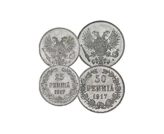 // 1, 5, 10, 25, 50 pennia, Finnország, 1917 // - I. Sándor cár 1809-ben elfoglalta Finnországot, mely több mint 100 évig az Orosz Birodalmon belüli autonóm nagyhercegség volt. 1917-ben, a bolsevik forradalom után Finnország kikiáltotta függetlenségét, de