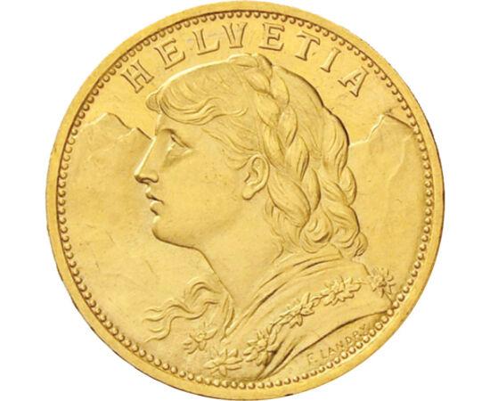20 frank, Vreneli, 1883-1949, arany Svájc