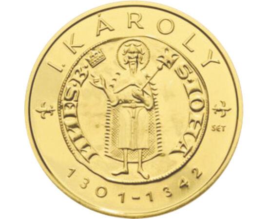 // 10000 forint, 986-os arany, Magyarország, 2012 // - A középkor magyar aranyforintjait felvonultató érmesorozat első darabja a magyar pénztörténet egyik legjelentősebb érméjét, az első magyar aranypénzt, Károly Róbert itáliai mintára veretett aranyforin