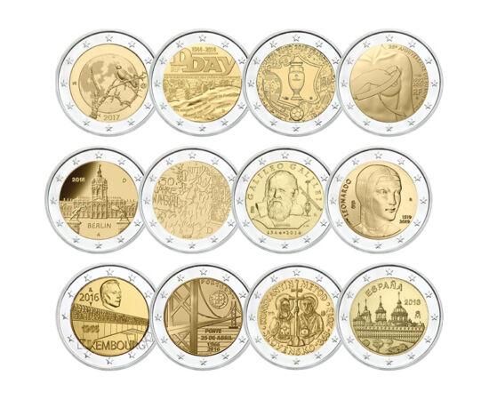 // 2 euró, Európai Unió, 2002-2021 // - Az euró-övezeti országok évente csak két alkalommal adhatnak ki 2 euró névértékű emlékérmét, melyek előlapja azonos a forgalmi 2 euróval, viszont emlékmotívuma egy évfordulót, eseményt vagy a kibocsátó ország egyik