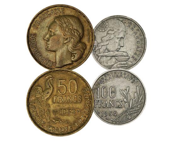 Frankból centim, 10, 20, 50,100 frank, Franciaország, 1950-1959