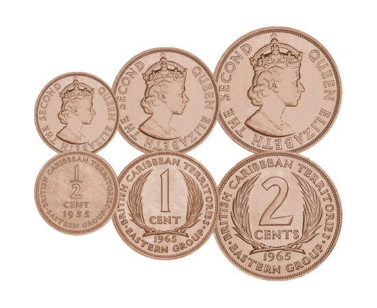 Nem létező ország érméi, 1/2, 1, 2 cent, Brit-karibi Terület, 1955-1965
