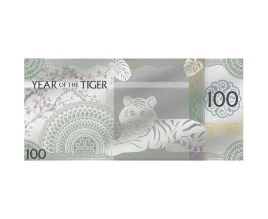 Tigris éve ezüst bankjegyen, 100 tugrik, ezüst, Mongólia, 2022