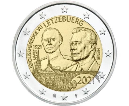 2 euró, János nagyherceg, Henrik nagyherceg, , CuNi, 8,52 g, Luxemburg, 2021