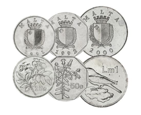 1, 2, 5, 10, 25, 50 cent, 1 líra, , 0, 0, Málta, 1991-2007