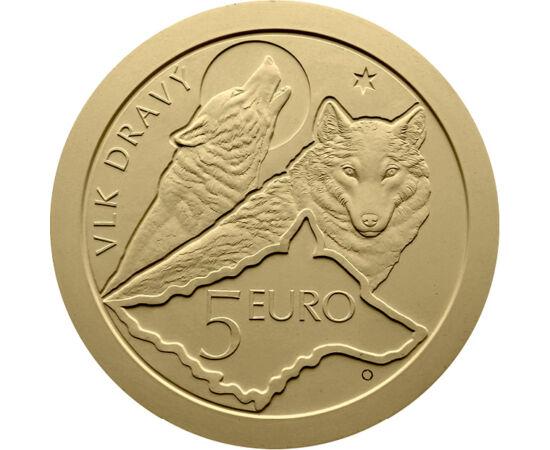 5 euró, Három farkas, térkép, címer, , CuNi, 19,1 g, Szlovákia, 2021